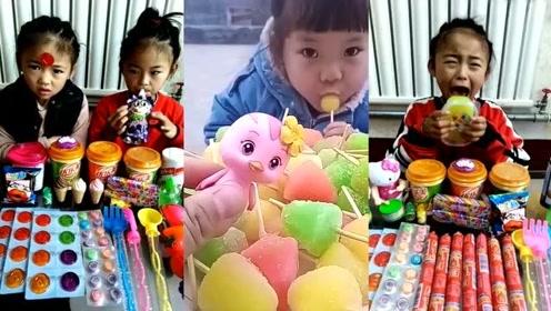 吃播一家人:小朋友在吃糖,看着很好吃的样子!