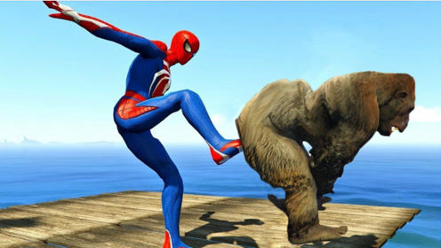搞笑玩法,蜘蛛侠vs大猩猩金刚,画面够酸爽
