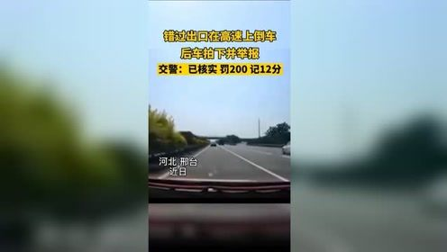 河北邢台,小轿车错过出口在高速上倒车,后车拍下视频并举报