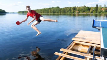 去极度舒适的户外湖区打一场花式乒乓,结果意外