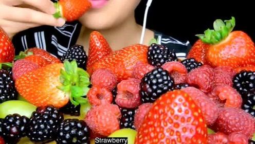 吃桑椹+覆盆子+青提+草莓(声控咀嚼音)