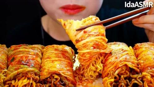 【咀嚼音】火鸡面泡菜卷、炸酱面泡菜卷、方便面泡菜卷