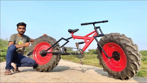 小伙用拖拉机轮胎制作自行车,别人推着才能跑,真是太好笑了