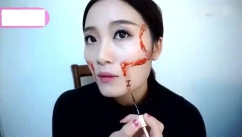 恶搞妆容:妹子好大胆,在脸上画了伤口缝合妆