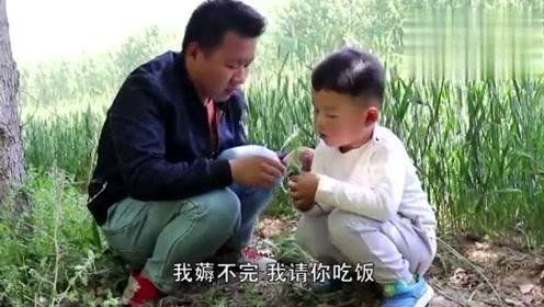 爆笑,农村3岁小孩在麦田里教训叔叔