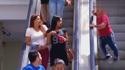 国外爆笑街头恶搞:大叔扶梯上轻抚女子胳膊抛