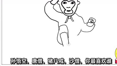 西游记人物孙悟空的简笔画,你可知道这是哪个版本的齐天大圣