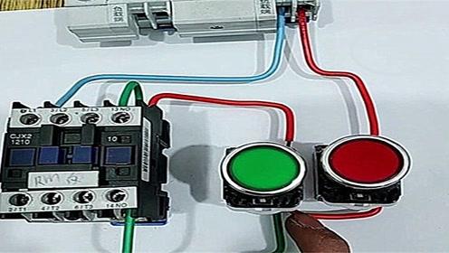 """电工知识:""""接触器的自锁线路""""实物接线图"""