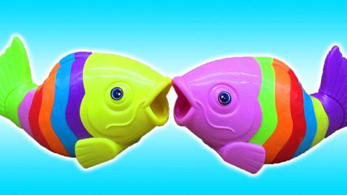 七彩积木鱼 可以拼装的玩具蛋 益智趣味玩具