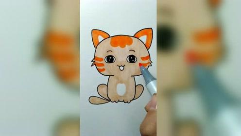 教小朋友画一只可爱的小猫咪!