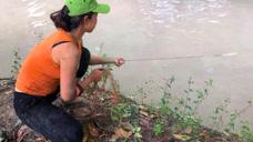 农村姑娘捕鱼,一网下去,拉上来满满一网大鱼,厉害了!