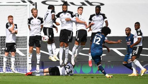 英超联赛 阿森纳4-1富勒姆 一场精彩的进球大战。奥巴梅彰显出他的球技