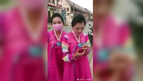 街拍朝鲜美女,清纯天然的美,太可爱了