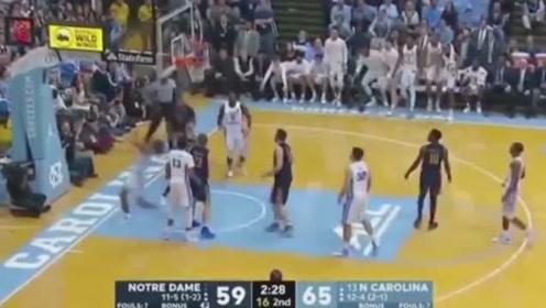 圣母院vs北卡罗来纳州,篮球赛精彩片段,个个都是牛人呀