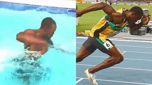 见过博尔特水中跑步吗?