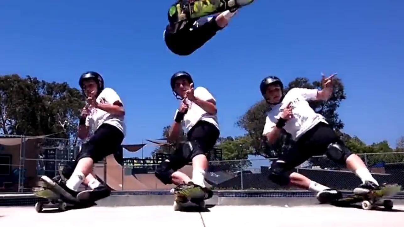 牛!滑板少年炫酷跳跃翻腾
