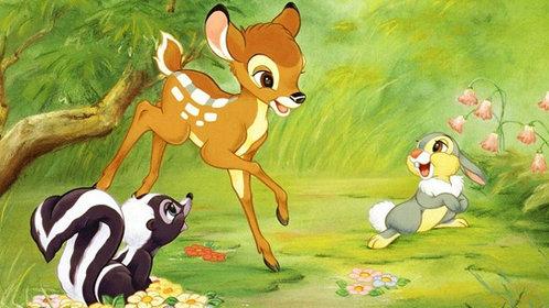 在森林中生活着一群可爱的小生灵,他们是小鹿斑比,小白兔加纳,臭鼬花