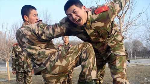 军队教练演示关节擒拿术