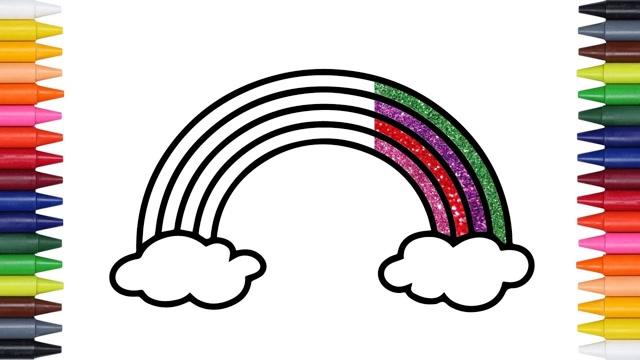 儿童简笔画:金粉彩虹看看