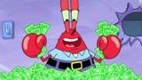 海绵宝宝:蟹老板被关进银行保险库,和钱钱在一起,他是有多爱钱