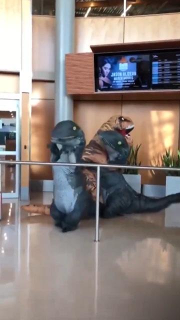 史上最可愛接機!2個孩子扮恐龍接爸爸回家結果亮了