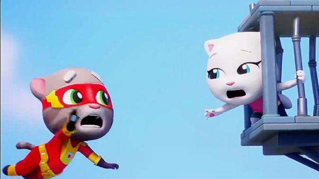 汤姆猫跑酷游戏 汤姆猫救出了安吉拉非常的开心!