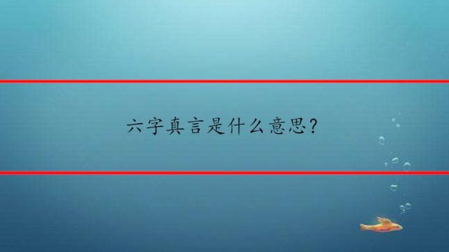 六字真言是什么意思?