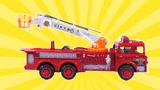 合金回力登高云梯消防车玩具大号火警救援车救火车儿童工程车
