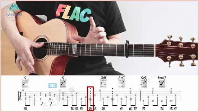 《桥边姑娘》海伦-吉他弹唱-吉他教学-大树音乐屋