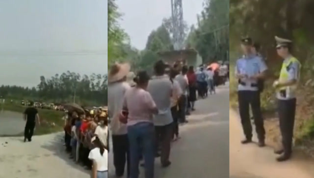 富商回鄉祭祖發紅包,上千村民排隊幾公里領錢,警察現場維持秩序