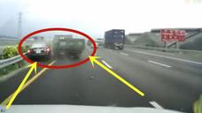 货车爆胎宛如死神,直接带走轿车上的人,监控拍下吓人一幕!