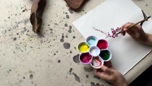 中国画——四君子之梅花国画画法视频 (56播放)