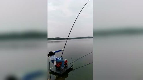 钓台钓鱼不容易啊,把我女徒弟累坏了