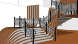 SketchUp波浪樓梯建模思路