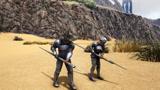 方舟生存进化:武器大战和燃烧姐比赛玩长矛看毛哥如何一打二的!