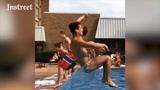一群基友泳池边玩起了花式跳水,姿势千奇百怪