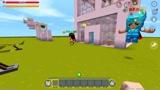迷你世界:小杰和小伙伴一起在岩浆上玩耍