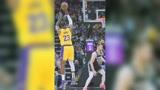 篮球精彩一瞬:詹姆斯对马刺连进5记三分 队友疯狂庆祝乐开花